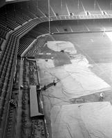 Football; Detroit Lions; Briggs Stadium. Marking the stadium for Detroit Lions' Football games