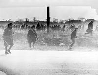 Communists; Dearborn; Riot at Ford Plant. -Men Throwing Stones With Police Retreating
