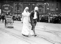 Wars; World; # 1; Parades; Red Cross. Nurse leading injured soldier