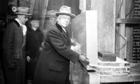 Penobscot Building; New; Laying Cornerstone. Mr. William Murphy laying last stone