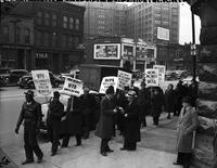 Picketing; Detroit. WPA pickets in front of G. A. R. Building
