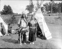Indians; Chiefs. Chief Buffalo Bear. Leo, Mrs. & Mrs. Frank for chief in full regala.