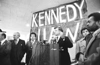 Kennedy, Edward M. U. S. Senator Massachusetts. at Somerset Inn in Troy campaigning for Presidential nomination