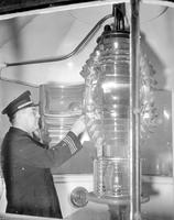 Light House; Belle Isle & Keeper. -Captain Ernest J. Bondy; Lightship; Dahlia; Inspecting Light on Belle Isle Lighthouse