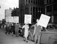 Picketing; Detroit. Picketing at J. L. Hudson Company