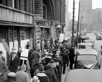 Picketing; Detroit. Picketing in front of G. A. R. Building
