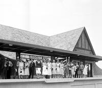 Railroad; Station; Grand Trunk;. Birmingham, Michigan; Crowd.