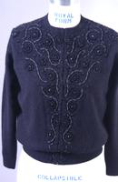 Blue Angora Beaded Cardigan