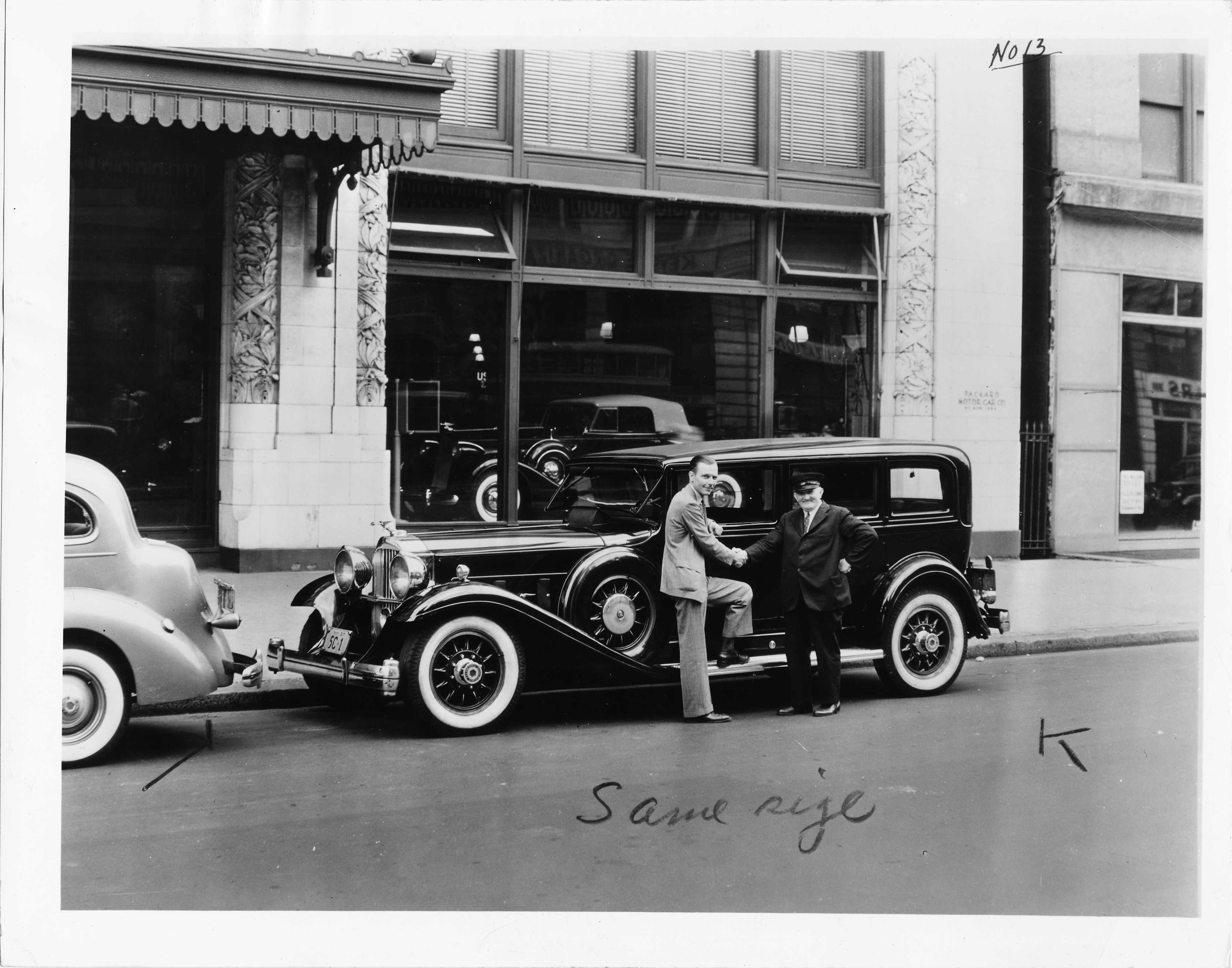 1932 Packard sedan limousine at New York City Packard dealership ...