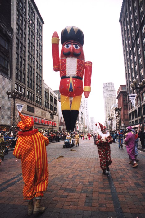 A Nutcracker floats down the street in Detroit's Thanksgiving Day Parade